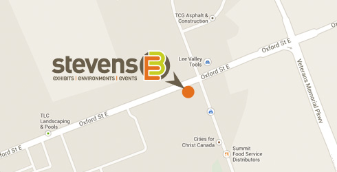 Map showing the Stevens E3 office location